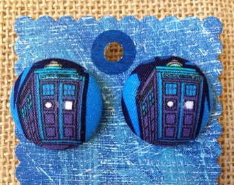 Dr Who Earrings, covered button earrings, comic book fabric, Tardis