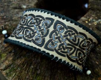 Celtic ornaments leather bracelet, LARP, fantasy