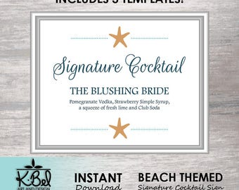 Printable Beach Themed Signature Cocktails Sign - Wedding Bar Sign - Editable Specialty Drink Sign - INSTANT DOWNLOAD / Digital Download