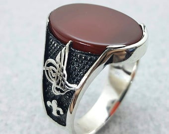 Sterlin Silver Men Ring With Red Agate Stone