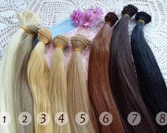 "35 cm(13.8"" inches). Hair for dolls. Straight hair. Tress. Synthetical hair. Weft. Hair for doll wigs. Art dolls. Synthetic doll hair"