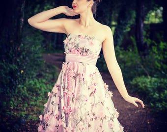 1950s inspired prom| bridesmaid dress |  strapless dress | full circle skirt|  tea length |special occasion dress. 3D flowers. Made to order