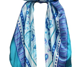 Love Lakeside-Women's Silky Feel, Pre-tied, Fitted Headscarf, Tichel, Chemo Scarf Teal Blue