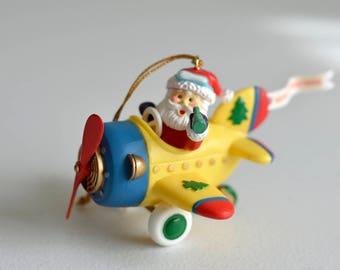 Vintage,Christmas Ornament,Santa Claus,Santa in Airplane,Christmas 1994,Vintage Christmas