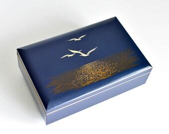Vintage , Otagiri, Seagull Blue, Lacquer, Jewelry, Music Box, Sunrise Sunset ,Music box vintage,Music Box Japan