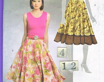 Festival, Square Dance, Full Circle Skirt/ McCall's 5811 Easy Teens Women's below knee skirt, contrast UnCut Sewing Pattern Size 4 6 8 10 12