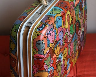 Hand Painted Multi-Color Vintage Hard Shell Suitcase Rainbow Luggage Carry On