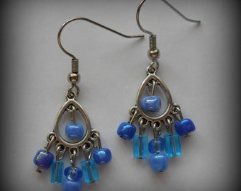 Blue Chandelier Earrings, Blue Earrings, Small Earrings, Light Weight Earrings, Trendy Earrings