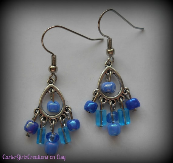 Small Blue Earrings: Blue Chandelier Earrings Blue Earrings Small Earrings Light