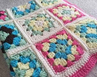 CROCHET PATTERN Blanket, Colourful Baby Blanket, Baby Girl Crochet Blanket Pattern, Baby Boy Crochet Blanket Pattern, Granny Square Crochet