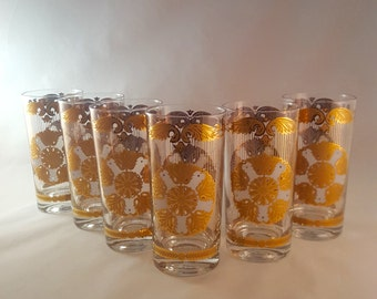 Georges Briard Gold and White Glasses - Set of 6