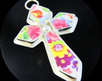 Unique Floral Cross Broken China Jewelry; Sterling Silver Pendant; Vintage Pink Flowers Birthday Bridesmaid Mothers Day Anniversary Gift