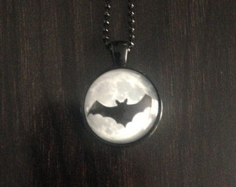 Bat Moon Necklace  Black White