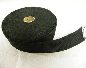 "Nylon Webbing 1.5"" wide Black; By the yard; Medium Weight"