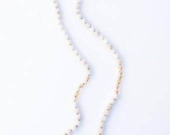 LOLITA NECKLACE * white agate with golden Swarovski accent