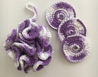 Crochet bath pouf scrubby set - spa loofah - cotton scrubbies - bath and shower gift set - organic skincare set - exfoliating accessories