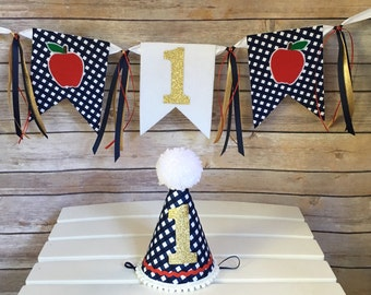 First birthday hat and banner - picnic birthday decor - gingham party hat - photo prop - first birthday hat - 1st birthday hat - apple theme