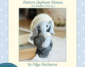 Download template elephant Moni. Height 16 cm. (6.2)