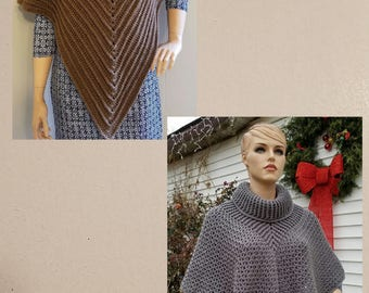 Awesome Deal! 2 Crochet Poncho patterns for 10.00. DIGITAL DOWNLOAD ONLY