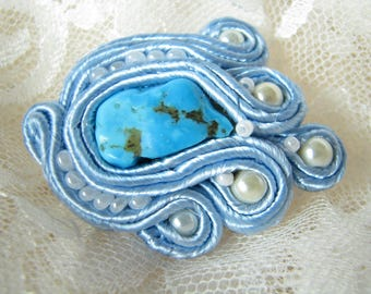 Turquoise Brooch Blue brooch Natural Turquoise Brooch Mother gift for her Stone brooch Glass pearl brooch Small brooch December birthstone