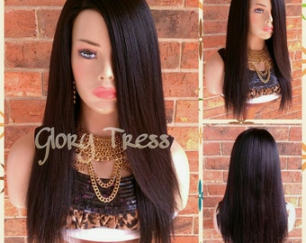 ON SALE/ 100% Brazilian Remy Human Hair, Long & Straight Full Wig, Black Wig, Yaki Texture, Lace Parting, BLESSED (Free Shipping)