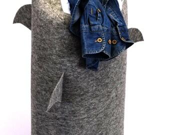 JawZ Felt Shark Laundry Bin,Toy Box,Storage Basket- (Grey Color) - 29 Custom Colors Available -