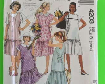 "80s Maternity DRESS & Jumper, UNCUT F/F, Size 8-10-12, Bust 31 1/2"" to 34"", McCalls  4203."