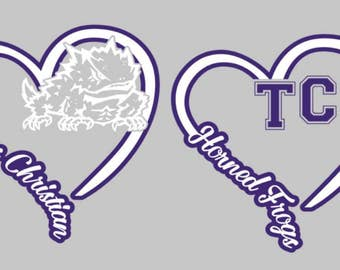 I Heart TCU Decal, horned frogs, texas christian, tcu, college, car decal,
