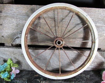 Vintage Wire Spoke Wheel, Doll Cart, Stroller or Baby Carraige Wheel, Replacement, Rustic Home Farmhouse Decor, Mid Century Collectible, DIY