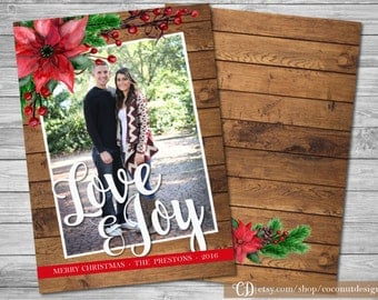 Rustic Chrismas Photo Card / Holiday Photo Card / Wood and Poinsettia Holiday Card / Love & Joy / Christmas Photo Card / Digital File