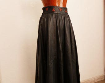 80s vintage skirt of leather ball gown