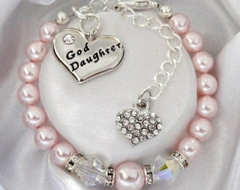 Pink and double Swarovski bicone Goddaughter Bracelet - Goddaughter gift , Goddaughter bracelet, Goddaughter Jewelry , Goddaughter baptism