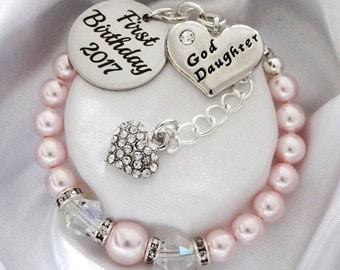 Pink Swarovski Goddaughter First Birthday 2017 Bracelet - Goddaughter gift , Goddaughter bracelet, Goddaughter Jewelry , Goddaughter baptism