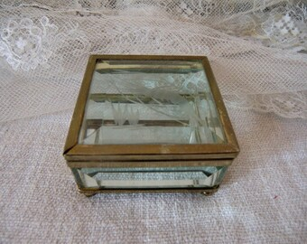 Small old jewelry box faceted glass