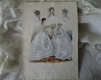 Vintage antique fashion sheet bridal 1868 Sissi wedding gown robe de Mariée french shabby chic