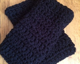Crochet black gloves , fingerless gloves , Aran winter gloves , Crochet gloves , winter gloves  , hand warmers , gift for her , gift for him