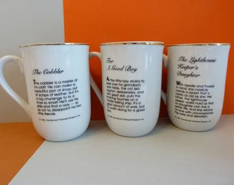 Norman Rockwell Mugs, Set of 3, circa 1982, The Cobbler, The Lighthouse Keeper's Daughter, For A Good Boy