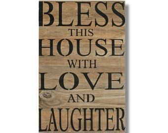 Distressed Wood Wall Art - Bless This House... (RCS-L-39)