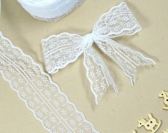 2.5 yds WHITE shabby chic lace ribbon - White ribbon for wedding decorations - White ribbon lace - Lace bows - Lace flower ribbon. UK Seller
