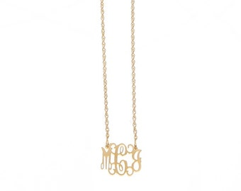Petitie Gold Plated Monogram Filigree Necklace - Interlocking Collection