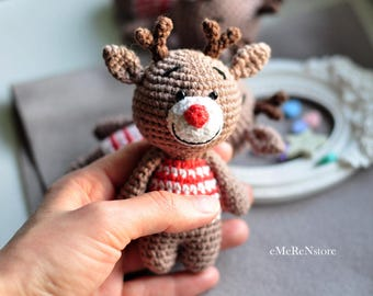 Crochet reindeer,FREE SHIPPING, amigurumi reindeer toy,Christmas ornament,small reindeer toy,miniature reindeer, christmas reindeer decor