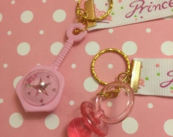 Cute pacifier ddlg   baby rattle pink kawaii keychain lanyard fob  princess little space