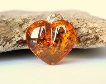 Honey color amber pendant, heart shape cognac amber pendant with sterling silevr clasp, love amber pendant, pendants, natural Baltic amber