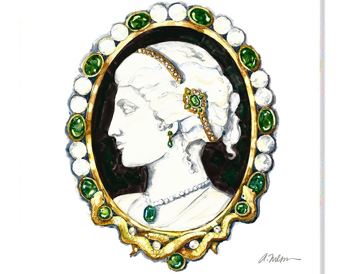 Featured listing image: Cameo Brooch Watercolor Rendering in Yellow Gold with Agate, Emeralds, Diamonds and Pearls printed on Canvas