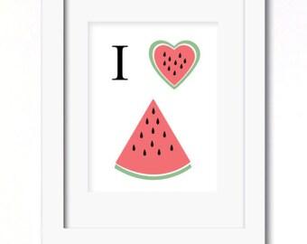 A4 I heart watermelon print