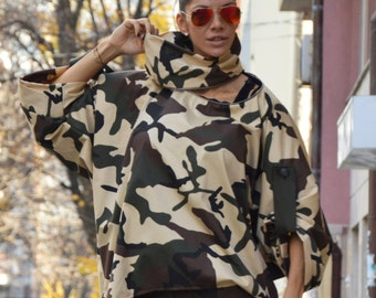 New Camouflage Turtleneck Loose Shirt, Extravagant Oversize Sports Jacket, Long Short Sleeves by SSDfashion