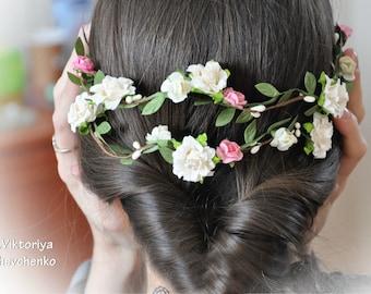Flower Hair Garland Bridal flower crown Wedding Hair Flowers Head Wreath Flower Crown Cherry Blossoms White Bridal Wreath Floral Hair LV12