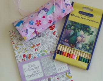 Pink unicorns pencil roll - adult or child colouring gift