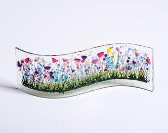 Handcrafted Fused Glass Art - Wild Garden Wave
