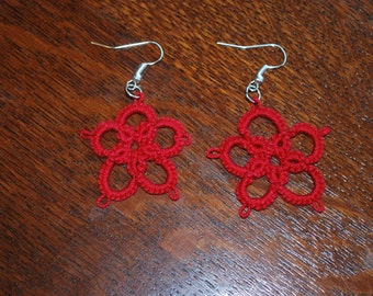 Tatted, handcrafted, lace 5 petal flower earrings